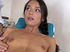 Skinny Brunette Gagged And Jammed By Doctor