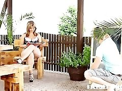 Fat and mature female Sandra queening on her younger slave