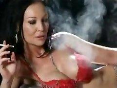 Smoking brunette in red lingerie + 120