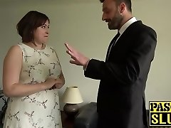 Chubby lady Laura Louise gets facehole fucked and raunchy sex