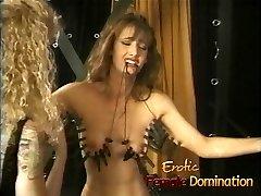 Rough mistress makes her victim's tits hurt in a bdsm sesh