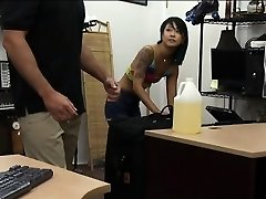 Asian beauty ravaged by weirdo pawn man in the back office