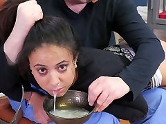 Hot black submissive girl punished with a cup of spunk