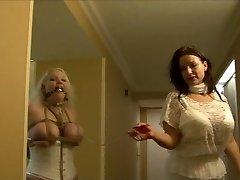 Full figured female tied like a hog in white lingerie