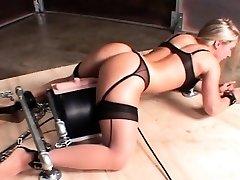 Machine screwed hot sex victim cumming hard