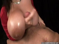 enormous natural breasts absorb handjob cock