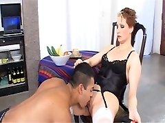 Femdom Cougar with a food fetish