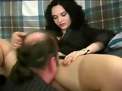 A woman making fellow gobble her pretty pussy and treating him like poop