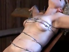tied with barbed wire, crushing soft boob and poon meat
