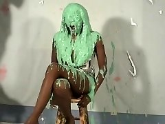 uber-cute ebony girl pied and slimed