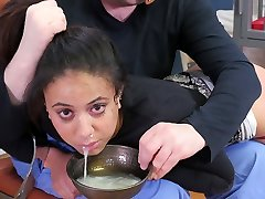 Steaming black submissive girl punished with a cup of cum