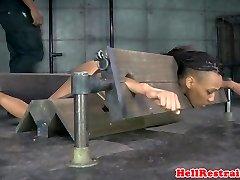 Bound black sub in yoke toyed as punishment