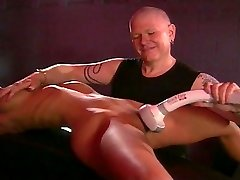 Blond big tits fetish babe tortured by tormentor