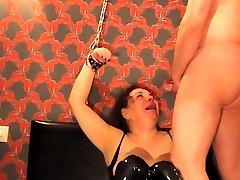 Gross Arab Russian Mega-slut Chained up, Face Fucked CIM BDSM