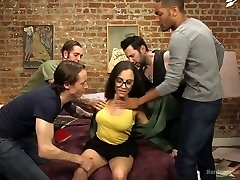 Shy brunette in glasses Roxanne Rae is fucked by several insane dudes
