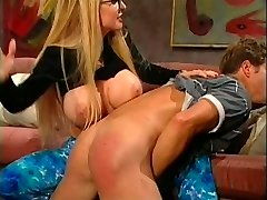 Blond in glasses whipping stud's rump