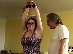 Chubby british slave cumswallows after roughsex