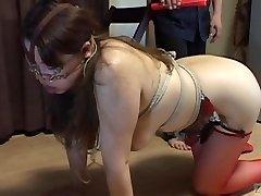 Sensuous Japanese BDSM leash walking hot paraffin wax on big butt