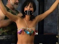 Young sub in handsome bikinis get strapped and blindfolded by mature sir