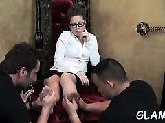 Erotic sweethearts fuck sub's throat with feet and toys