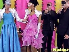 Peefetish glamour sluts groupfuck during soiree