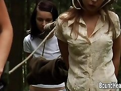 Two Virginal Girls Caught By Lesbian Huntress And Tied Up
