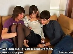 Dark haired Russian fuck-fest doll gets her pussy kittled by two violent boys