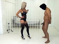 Blonde Mistress in Lingerie Kneeing Balls