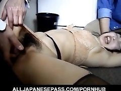 Japanese AV Model has hairy crack roughly screwed by two folks
