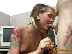 Skinny office hoe dominates her co-employee's hard cock