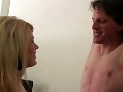 19 years blond Female in Shiny Leggins dominate man in Bondage & Discipline