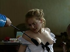 Blonde slave girl slapped and humiliated.