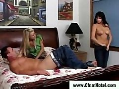 Cfnm strapon bi-otches guy fucked