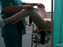 Gal's ejaculation on the gynecological chair