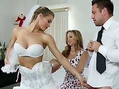 Big boobed bride and her sexy kooky please nasty groom with red-hot BJ