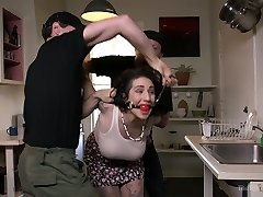 Messy whore Arabelle Raphael is tied up and torn up hard by one rude dude