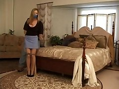 Amber Michaels roped by oak