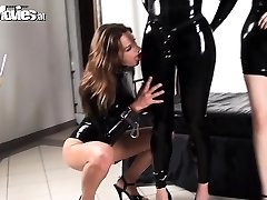 2 latex babes love frolicking with their victim