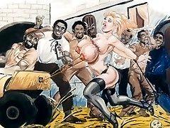 Slaves in bondage bondage & discipline cartoon art