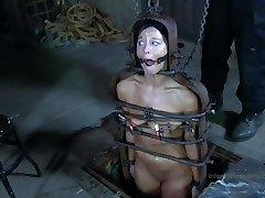 Strappado Torture, claustrophobia and ejaculation predicament for captive girl.