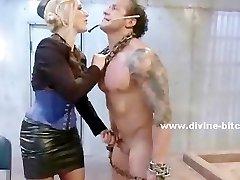 Predominant brunette tortures a man