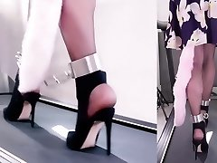 Asian Chained Treadmill Ambling in Heels