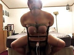BBW roped to chair made to have multiple  orgasms