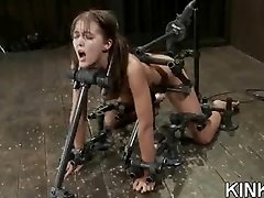 Extreme fantasy of girl corded and double