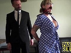 Lovely Madison Stuart strapped for maledom dick insertion
