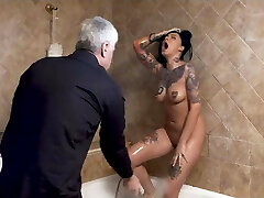Dirty maid gets her pussy caned
