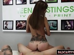 Tatted teen gets trussed up and fucked