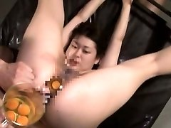 Extraordinary Japanese AV gonzo sex leads to raw egg speculum