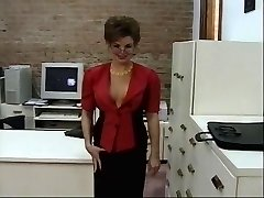 Insatibale office chick strips and gets kinky plaything fucked