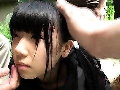 Weird asian group play with splattering teen